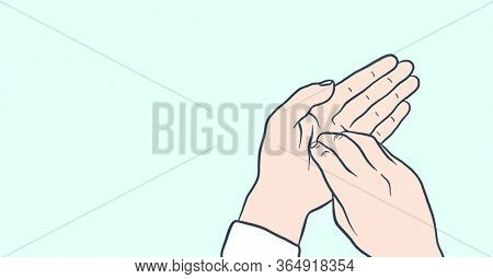 Digital illustration of instructions of hand washing on pale blue background. Precautions cleanliness hygiene coronavirus Covid-19 pandemic concept digitally generated image.
