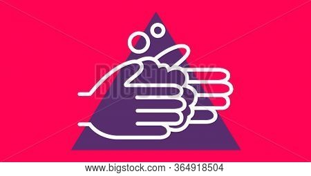 Digital illustration of instructions of hand washing with liquid soap in purple triangle on pink background. Precautions cleanliness hygiene coronavirus Covid-19 pandemic concept digitally generated