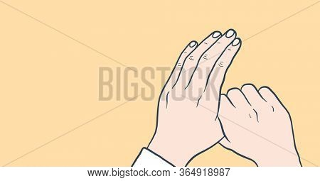Digital illustration of instructions of hand washing on pale yellow background. Precautions cleanliness hygiene coronavirus Covid-19 pandemic concept digitally generated image.