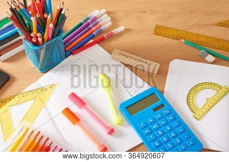 School Supplies Background. Back To School Concept. Items For School. Office Desk With Copy Space. F