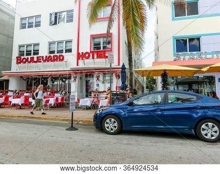 Miami, United States Of America - November 30, 2019: Boulevard Hotel At Ocean Drive In Miami Beach,