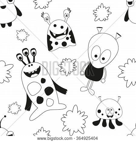 Seamless Pattern - Cartoon Funny Monsters. Black And White Wall Art Background. Monochrome Vector Il