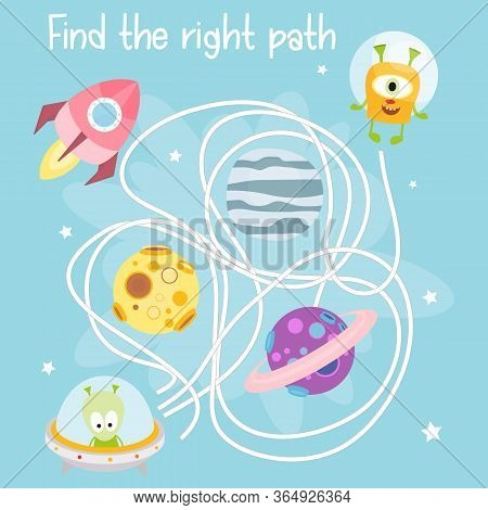 Space Labyrinth. Help Funny Space Monsters Find The Right Path. Games For Preschool, Kindergarten, S