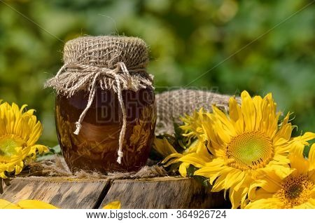 Honey In Field Of Wildflowers
