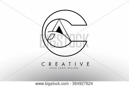 Ca C A Letters Logo With Outline Monogram Design. Creative Ca Letter Icon Vector Illustration.