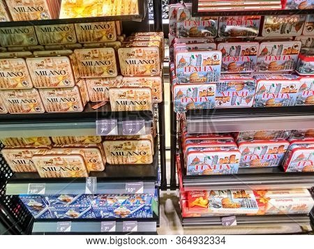 Milan, Italy - September 18, 2019: The Models Of Souvenirs Of The Milan At A Souvenir Stand