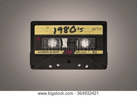 A Retro 1980's Themed Black And Yellow Aged Audio Cassette Illustration Background With Copy Space