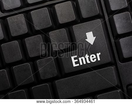 Close Up Of Enter Key Of Laptop Computer. Enter Keyboard Key Button On A Computer. Selective Focus.