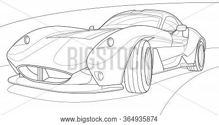 Coloring Page Vector Line Art For Book And Drawing. Black Contour Sketch Illustrate Isolated On Whit