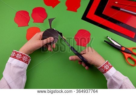 Step 5. Step By Step Instructions. How To Make A Red Poppy From Colored Paper. Creative Crafts For V