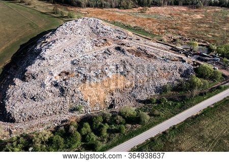 Aerial View Of A Large Garbage Heap At A Landfill. Environmental Pollution, Landfill.