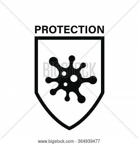Virus Protection Shield Icon , Microbe Shape Antivirus Defend Defeat Disease And Bacteria Quarantine