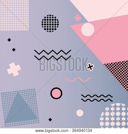 Memphis Geometry Background. Colorful Shapes Pattern, Vibrant Coloring Texture And Funky Color Abstr