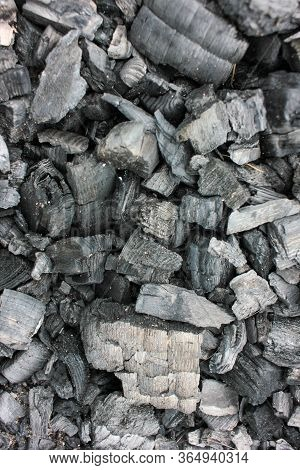 Burnt Firewood Texture. Cold Coals Of Burnt Wood Background. Top View