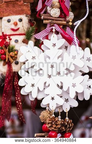 Christmas Decor. Christmas Decorations On A Christmas Tree And Decor For Home Decoration. New Year D