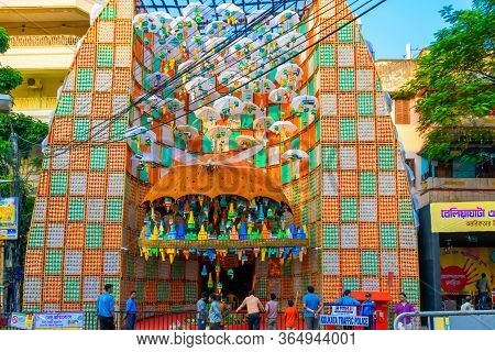 Picture Of Decorated Durga Puja Pandal, Durga Puja Is Biggest Religious Festival Of Hinduism. Shot A