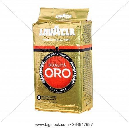 15, 2019: Lavazza Coffee Isolated On A White Background. Luigi Lavazza Spa Is An Italian Coffee Make