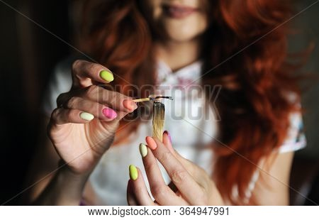 Psychic Readings And Clairvoyance Concept .wicca, Esoteric, Divination And Occult Background With Vi