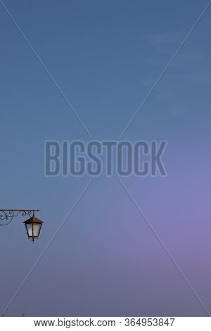 Streetlight On Sunset Blue And Violet Sky Background