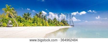 Luxury Summer Beach, Paradise Island Landscape. Tropical Island Paradise, Resort Or Hotel Panorama B