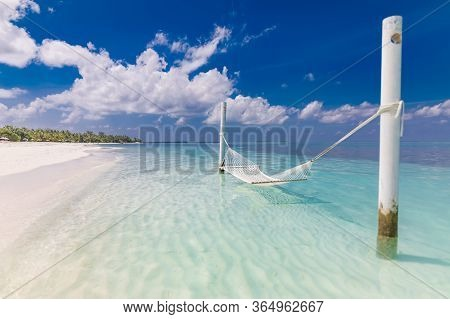 Luxury Beach. Luxury Travel Background. Summer Vacation Or Holiday Concept On Tropical Beach, White