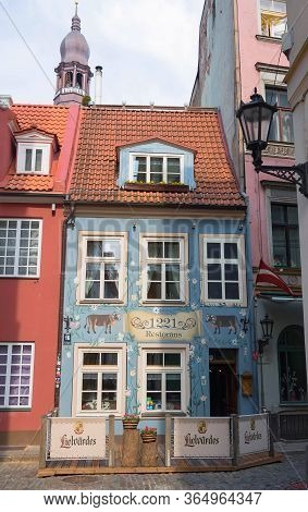 Riga, Latvia - April 29, 2018 : Traditional Restaurant 1221 In The Historic House Of Old Town -unesc