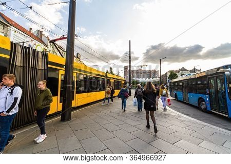 Editorial, Public Trams And People Szell Kalman Ter Square,  Budapest Hungary