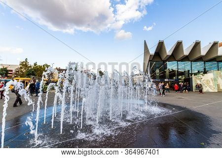 Editorial,  Water Fountain At Kalman Ter Square,  Budapest Hungary
