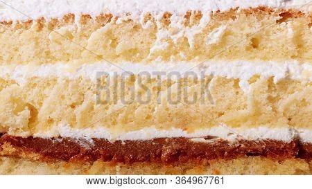 Sponge Cake, Cut. Close Up Of A Cake.