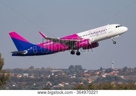 Budapest / Hungary - October 14, 2018: Wizz Air Airbus A320 Ha-lyt Passenger Plane Departure And Tak