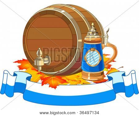 Decorative Oktoberfest design with beer keg and mug