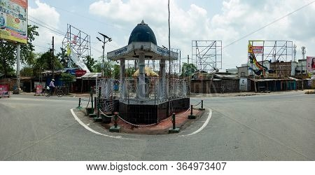 Katihar/bihar/india-05/06/2020; Empty Ambedkar Chowk During Corona Virus Spread Lockdown Mirchaibari