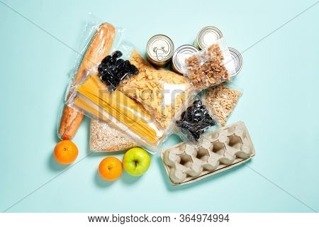 Set of food products. Food supplies.. Donation, coronavirus and quarantine concept.