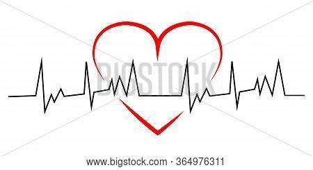Heart Pulse. Red Heart With Black Line Heartbeat. Heartbeat. Vector