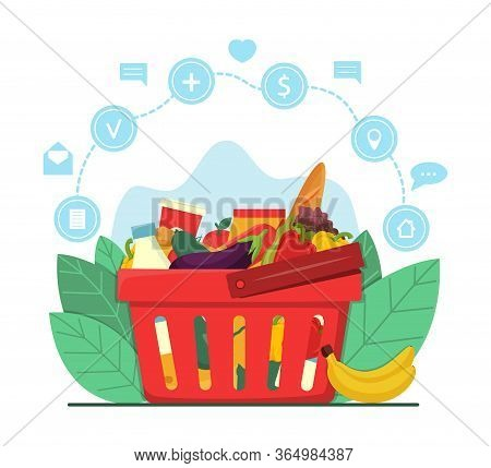 Online Grocery Shopping And Delivery Concept. Red Plastic Shopping Basket Full Of Groceries Products