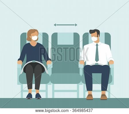 Passengers Wearing Protective Medical Masks Traveling By Airplane. new Seating Regulations On Flight