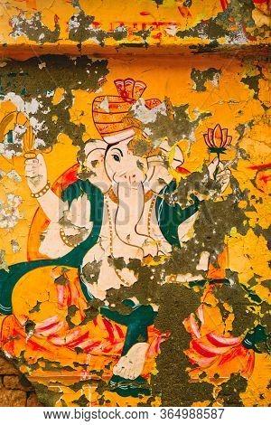 Ganesh Ganesha Indian Hindu god image painted on wall. Jaiasalmer, Rajasthan, India