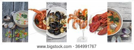 Seafood Collage. Includes Clam Chowder, Cioppino,  Bruschetta, Shrimp Cocktail, Lobsters.