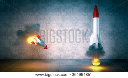 two rockets start but one fails to launch. concept of success, competition, competence and luck. 3d render. nobody around.