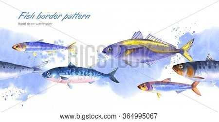 Banner with watercolor fishes on blue water background - horse mackerel; mackerel, anchovy, herring. Hand drawn border pattern of school of fish for seafood design