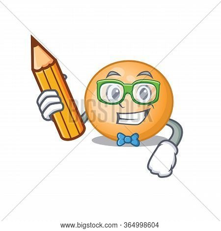 A Brainy Student Staphylocuccus Aureus Cartoon Character With Pencil And Glasses