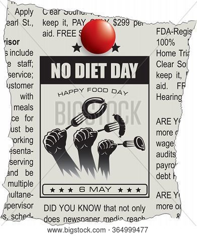 Happy Food Day - Classifieds Newspaper For No Diet Day