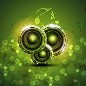 Speakers on beautiful shiny green abstract background. EPS 10. poster