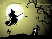 Halloween witch flying on broomstick, scary Halloween background. EPS 10. poster