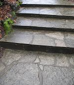 a very old set outdoor stone steps poster