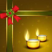Beautiful greeting card with illuminating Diya and ribbon for Hindu community festival Diwali or Deepawali in India. EPS 10. poster