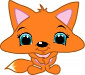 an adorable little fox with hands together. poster