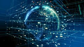 Global Network And Data Connections Concept. Abstract Planet Technology Data Network.digital Data Gl