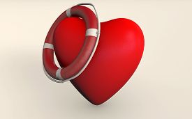 A Heart With Rescue Support 3d Rendered Isolated