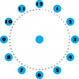Clock Dial Big Black Numbers On Blue Circles For The Hours And Small For Seconds On Transparent Back